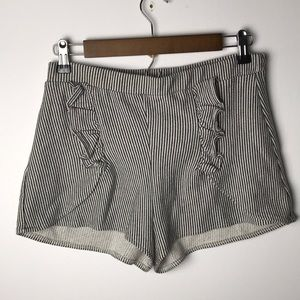 Zara striped ruffle shorts size S